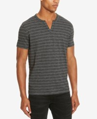 Kenneth Cole Reaction Men's Striped Eyelet Henley Ash Grey