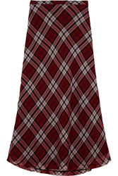 Michael Michael Kors Plaid Silk Voile Maxi Skirt Red
