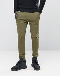 Sixth June Skinny Joggers With Distressing Khaki Green