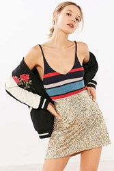 Silence And Noise Sparkle Stripe Sweater Cami Red Multi