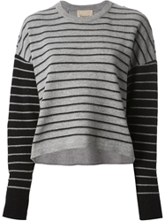 Nude Striped Lace Insert Sweater Grey