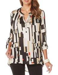 Rafaella Geometric Printed Layered High Low Blouse Rich Khaki