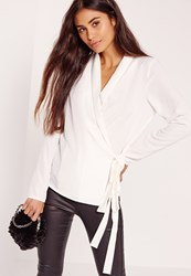 Missguided Long Sleeve Wrap Tie Side Blouse White Ivory