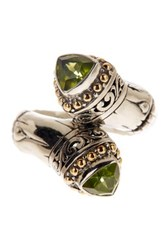 Phillip Gavriel 18K Yellow Gold And Sterling Silver Peridot Trillion Bypass Ring Metallic
