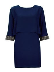Wallis Navy Embellished Cuff Dress