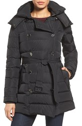 London Fog Women's Quilted Down Trench Coat Black