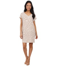 Maggy London African Puzzle Printed Crepe Wedge Dress Taupe White Women's Dress