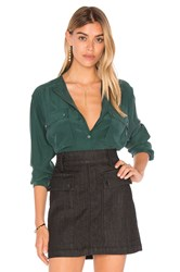 Frame Denim Le Silk Troop Button Up Dark Green
