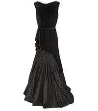 Oscar De La Renta Velvet And Silk Satin Gown Black