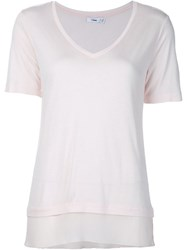 Vince V Neck T Shirt Pink And Purple