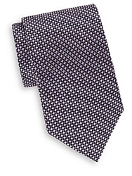Saks Fifth Avenue Mini Natte Silk Tie Purple