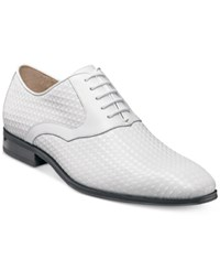 Stacy Adams Men's Fidello Diamond Print Oxfords Men's Shoes White