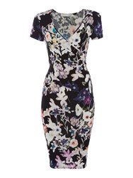 Oui Fitted Floral Dress With Ruched Waist Grey