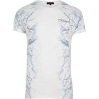 River Island Mens White Side Marble Print T Shirt