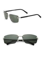 Montblanc 64Mm Rimless Rectangle Sunglasses Grey