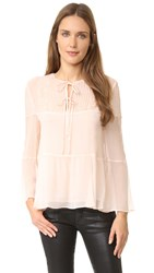 The Kooples Silk And Lace Long Sleeve Blouse Baby Pink