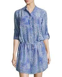 Rebecca Taylor Leopard Fever Tab Sleeve Shirtdress Blue Crush