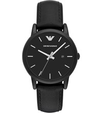 Emporio Armani Ar1973 Leather And Silicone Watch Black