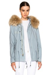 Mr And Mrs Italy Short Canvas Parka Jacket With Raccoon Fur In Blue