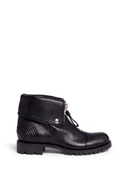 Alexander Mcqueen Skull Zip Grainy Leather Boots Black
