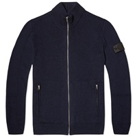Stone Island Shadow Project Pure Wool Zip Through Knit Navy