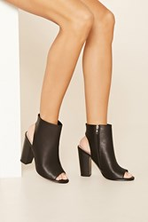 Forever 21 Open Toe Faux Leather Booties