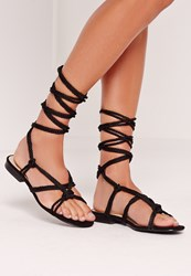 Missguided Rope Lace Up Flat Sandals Black Black