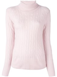 N.Peal Cable Roll Neck Pullover Pink And Purple