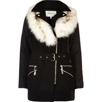 River Island Womens Black Faux Fur Collar Padded Coat