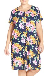 Plus Size Women's Lauren Ralph Lauren Print Cotton And Modal Nightgown