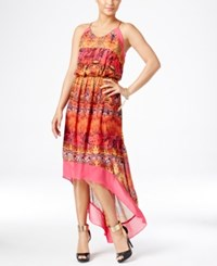Thalia Sodi Printed High Low Maxi Dress Only At Macy's Soft Yellow Combo