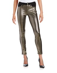 Design Lab Lord And Taylor Metallic Knit Pants Black Gold