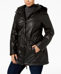 Calvin Klein Plus Size Faux Fur Trim Coated Anorak Black