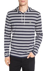 Lacoste Men's Stripe Long Sleeve Hooded T Shirt Navy Blue Cake Flour White