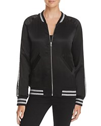 Aqua Sequin Stripe Bomber Jacket Black