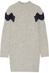 Toga Appliqued Wool Mini Dress Light Gray