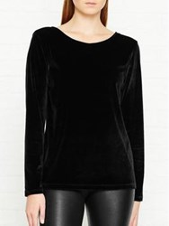 Reiss Maz Velvet Long Sleeve Top Black