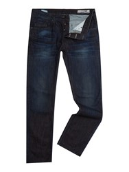 Duck And Cover Straight Fit Dark Wash Boxsir Jeans Blue