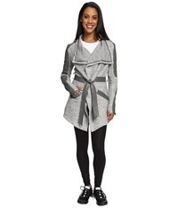 Blanc Noir Drape Sweater Coat Heather Grey Moonstone Women's Coat Gray