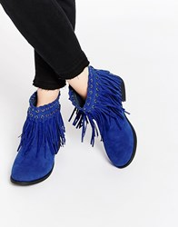 Truffle Collection Frolly Fringe Ankle Boots Blue