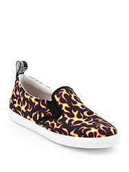 Love Moschino Flame Print Slip On Sneakers Red