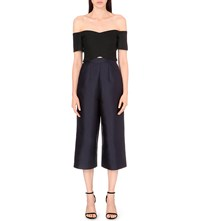 Whistles Marina Off The Shoulder Woven And Satin Jumpsuit Black