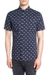 Topman Men's Trim Fit Short Sleeve Zebra Print Shirt Navy Blue Multi