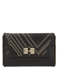 Diane Von Furstenberg Agent Alicia Eyelet Leather Zip On Clutch Black Gold