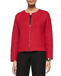 Eileen Fisher Boiled Wool Two Zip Short Jacket Lacquer