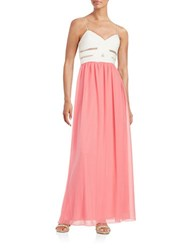 Betsy And Adam Mesh Accented Colorblock Gown Ivory Coral