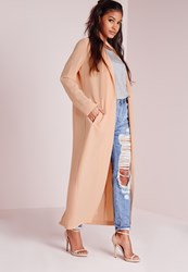 Missguided Long Sleeve Maxi Duster Jacket Nude