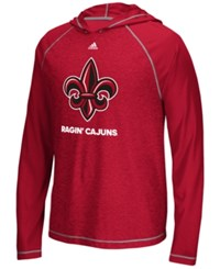 Adidas Men's Louisiana Ragin' Cajuns Loyal Fan Climalite Hooded Long Sleeve T Shirt Red