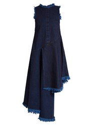 Marques Almeida Frayed Edge Asymmetric Hem Denim Dress Indigo