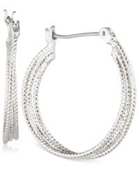 Nine West Multi Row Textured Hoop Earrings Silver